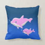 Pink Dolphins Throw Pillows