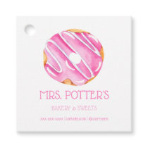 Pink Donut Bakery Dessert Small Business Favor Tags