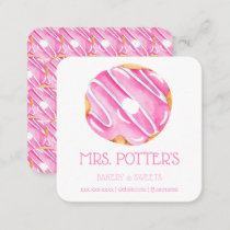 Pink Donut Bakery Dessert Small Business Square Business Card