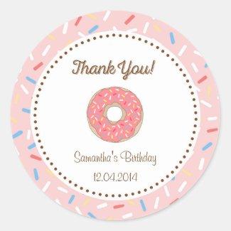 Pink Donut Birthday Sticker
