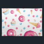 "Pink Donut Collage Cloth Placemat<br><div class=""desc"">Collage of donuts and cupcakes and ice cream cones with a black background. Perfect for any cutie at any age!</div>"