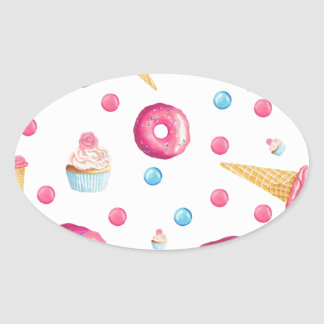 Pink Donut Collage Oval Sticker