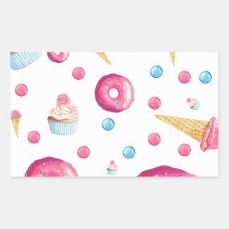 Pink Donut Collage Rectangular Sticker