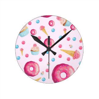 Pink Donut Collage Round Clock