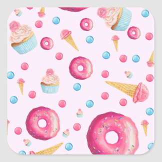 Pink Donut Collage Square Sticker