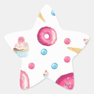 Pink Donut Collage Star Sticker
