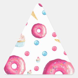 Pink Donut Collage Triangle Sticker