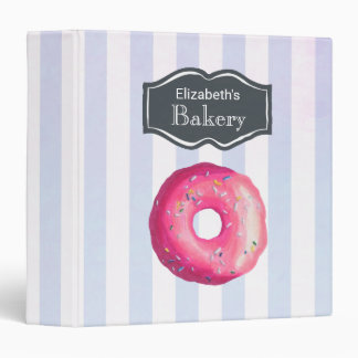 Pink Donut On Purple Stripes Bakery Recipes Binder