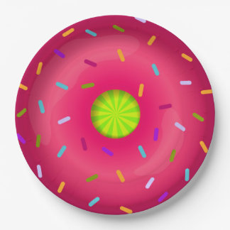 Pink donut paper plate