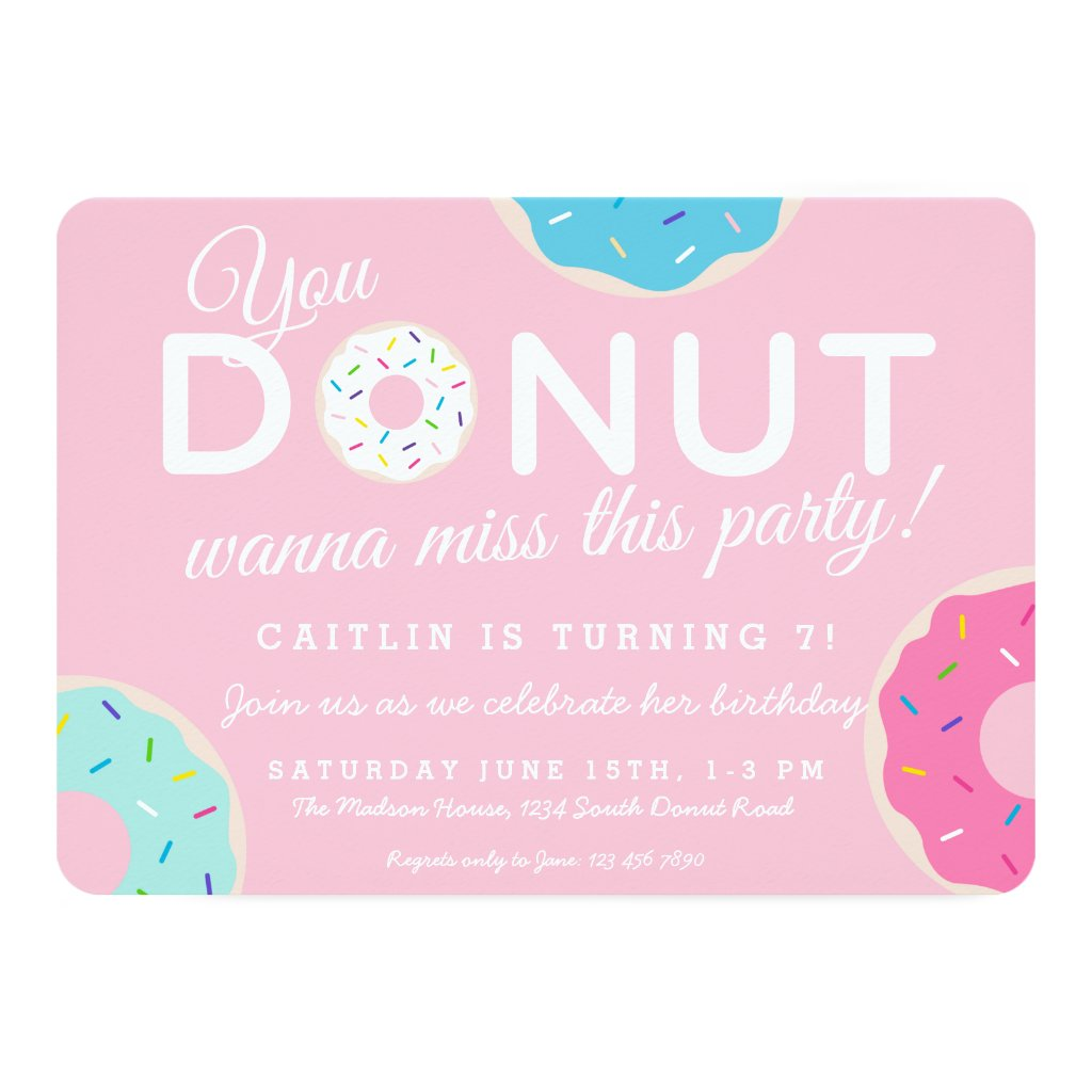 Pink Donut Party Invitation | Donut Birthday Party