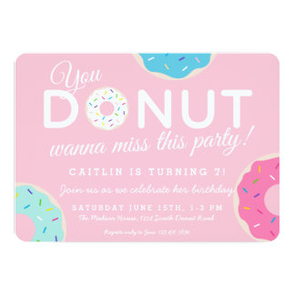 Donut Birthday Party Invitations Announcements Zazzle