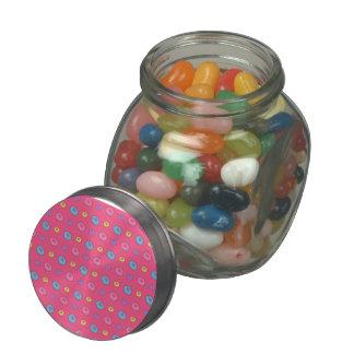 Pink donut pattern glass jar