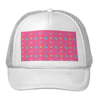Pink donut pattern trucker hat
