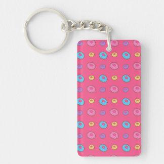 Pink donut pattern acrylic key chain