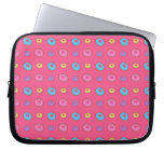 Pink donut pattern laptop computer sleeve