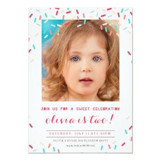 PINK DONUT SPRINKLES BIRTHDAY INVITATION