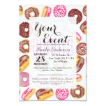 Pink Donut Typography and Watercolor Cute Donuts Card