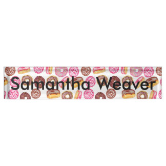 Pink Donut Typography and Watercolor Cute Donuts Nameplate
