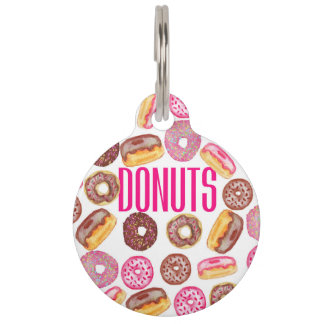 Pink Donut Typography and Watercolor Cute Donuts Pet ID Tag