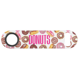 Pink Donut Typography and Watercolor Cute Donuts Speed Bottle Opener