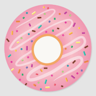 Pink Donut with Rainbow Sprinkles Classic Round Sticker