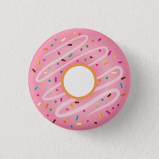 Pink Donut with Rainbow Sprinkles Pinback Button