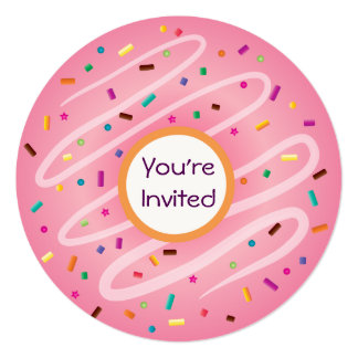 Pink Donut with Sprinkles Birthday Invitation