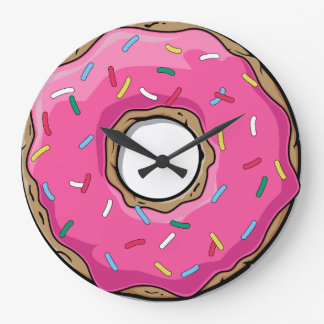 Pink Donut with Sprinkles Large Clock