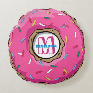Pink Donut with Sprinkles Monogrammed Round Pillow