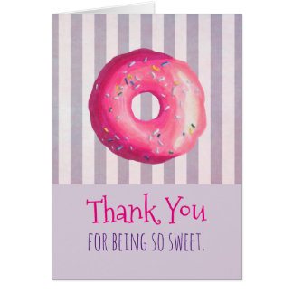 Pink Donut With Sprinkles Thank You Card