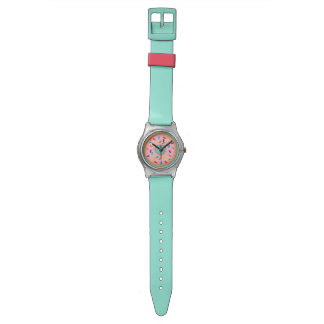 Pink donut wrist watch