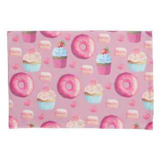 Pink Donuts, Cupcakes, and Candies Pillow Case