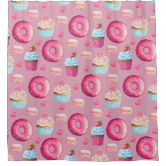 Attractive Pink Donuts, Cupcakes, And Candies Shower Curtain