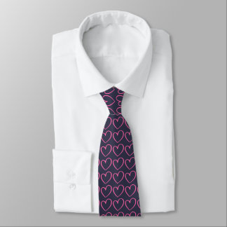 Pink Doodle Hearts on Navy Blue Tie