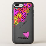 "Pink Doodle Hearts OtterBox Symmetry iPhone 8 Plus/7 Plus Case<br><div class=""desc"">White Otterbox brand iPhone 6 Plus case,  with graphics of a pink doodle art hearts and yellow flowers. the black text for yourself or as a lovely for her.</div>"