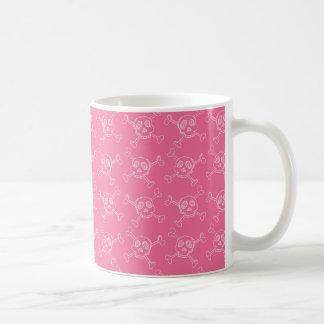 Pink Doodle Punk Rock Skull Pattern Coffee Mug