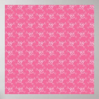 Pink Doodle Punk Rock Skull Pattern Poster