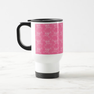 Pink Doodle Punk Rock Skull Pattern Travel Mug