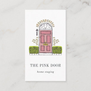 Home staging business cards templates zazzle pink door home staging or interior design business card colourmoves