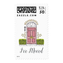 Pink Door Moving Announcement Postage