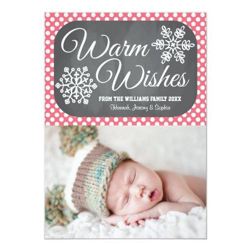 Pink Dot Chalkboard Snowflake Holiday Photo Card