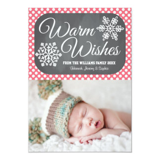 Pink Dot Chalkboard Snowflake Holiday Photo Card Personalized Invites