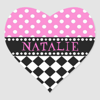 Pink Dot Checkerboard Heart Sticker