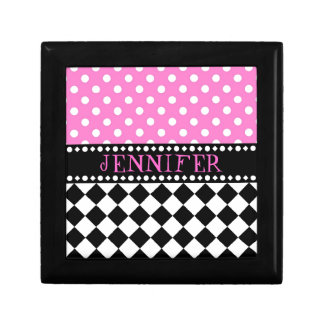 Pink Dot Checkerboard Jewelry Box