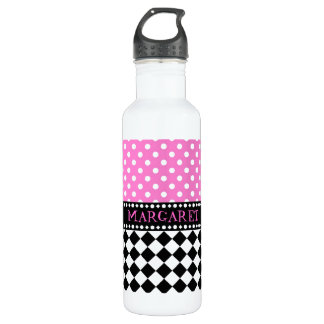 Pink Dot Checkerboard Stainless Steel Water Bottle