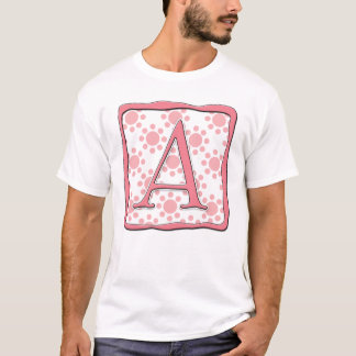 Pink Dot Design with Monogram A T-Shirt