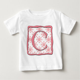 Pink Dot Design with Monogram C Baby T-Shirt