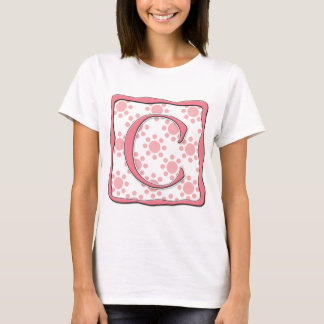 Pink Dot Design with Monogram C T-Shirt