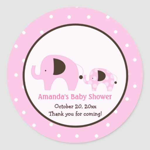 Pink Dot Elephant Round Sticker