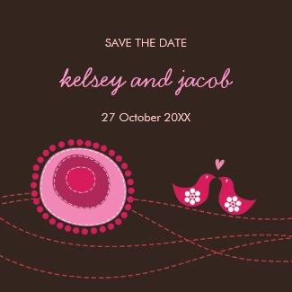 Pink Dot Flowers & Happy Bird Save The Date Magnet magnet